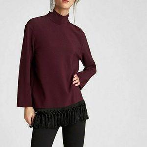 Zara Tassel Trim Mockneck Pullover Burgundy Tunic